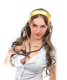 Cute female doctor with stethoscope. Isolated Stock Photos