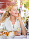 Cute female drink water Stock Photos