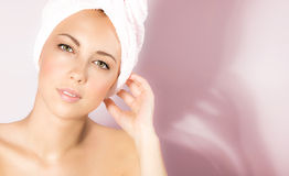 Cute female enjoying dayspa. Picture of cute female enjoying dayspa, closeup portrait of attractive woman isolated on pink background, luxury spa salon, pretty Stock Images