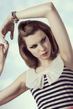 Cute female fashion vintage portrait royalty free stock photo