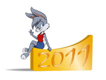 Cute female furry rabbit. Vector illustration of cute furry female cartoon bunny with sign of new year vector illustration