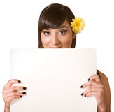 Cute Female Holding Poster Stock Photo