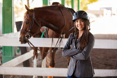 Cute female jockey at the track Stock Images