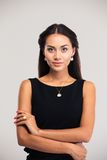 Cute female model in black dress Royalty Free Stock Image