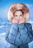 Cute female outdoors in winter Royalty Free Stock Photos