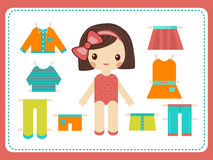 Cute female paper doll with the variety of bright colorful clothes. Girl vector illustration Royalty Free Stock Photography