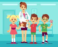 Cute female pediatrician doctor and happy healthy boys and girls in hospital. Childrens healthcare vector concept royalty free illustration
