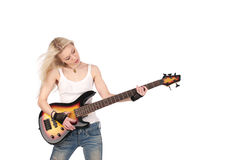Cute female playing guitar Stock Photos