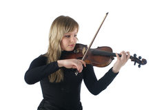 Cute female playing violin Royalty Free Stock Photos