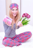 Cute female received gift Royalty Free Stock Images