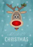 Cute female reindeer on vintage blue background with text merry christmas, christmas card design Royalty Free Stock Images