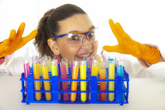 Cute female researcher in lab Royalty Free Stock Images