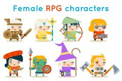 Cute female RPG characters fantasy game isolated icons set flat design vector illustration Royalty Free Stock Images