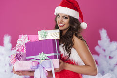 Cute female santa claus Royalty Free Stock Image