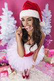 Cute female santa claus Royalty Free Stock Photos