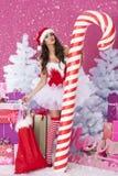 Cute female santa claus Royalty Free Stock Image