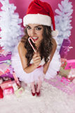 Cute female santa claus Stock Image