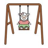 Cute female sheep in swing royalty free illustration