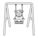 Cute female sheep in swing stock illustration