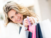 Cute female shopper Stock Photos