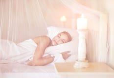 Cute female sleeping Stock Photos