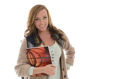 Cute female student in studio Royalty Free Stock Photography