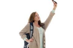 Cute female student in studio - selfie Stock Photos