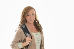Cute female student in studio Royalty Free Stock Images