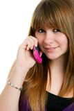 Cute female  teenager on a cell phone Stock Photo