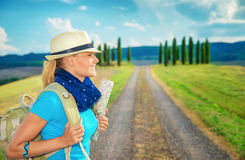 Cute female trekking along Europe Royalty Free Stock Photo