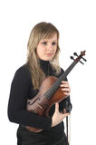 Cute female with violin Royalty Free Stock Photos