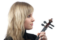 Cute female violinist portrait Stock Photo