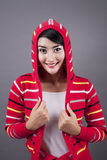 Cute female wearing sweater Royalty Free Stock Images