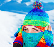 Cute female in winter time Royalty Free Stock Image