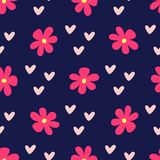 Cute feminine seamless pattern with flowers and hearts. Repeated girly print. Bright vector illustration royalty free illustration