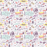 Cute feminine stuff hand drawn vector illustration seamless patterns. Cute feminine stuff on white background. Modern object glamour perfume essentials. Style Royalty Free Stock Images