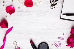 Cute feminine stuff on white background Royalty Free Stock Photo