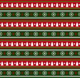Cute festive background  with snow flakes and christmas trees pr. Cute festive red, white and green seamless  striped background  with snow flakes and christmas Stock Photos