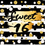 Cute festive bright sweet sixteen card with golden glitter. Confetti for your decoration Stock Photography