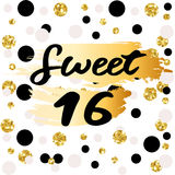 Cute festive bright sweet sixteen card with golden glitter. Confetti for your decoration Royalty Free Stock Image