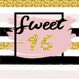 Cute festive bright sweet sixteen card with golden glitter. Confetti for your decoration Royalty Free Stock Photography