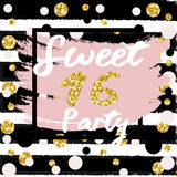 Cute festive bright sweet sixteen card with golden glitter. Confetti for your decoration Royalty Free Stock Photo