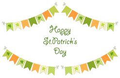 Cute festive bunting flags with clover isolated on white background. Happy Saint Patrick`s Day garlands. Cute festive bunting flags with clover isolated on Royalty Free Stock Photo