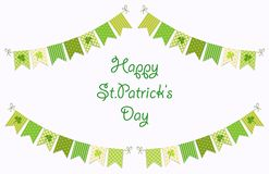 Cute festive bunting flags with clover isolated on white background. Happy Saint Patrick`s Day garlands. Cute festive bunting flags with clover isolated on Royalty Free Stock Image