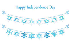 Cute festive bunting flags with traditional Jewish star for Israel Independence Day. Can be used as flyer, poster, banner or card Stock Photo