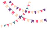 Cute festive colorful flags. On a light background Stock Photos