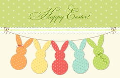 Cute festive Easter bunting as polka dots bunnies Stock Photography