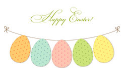 Cute festive Easter bunting as polka dots eggs Stock Photography