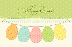 Cute festive Easter bunting as polka dots eggs Royalty Free Stock Photo