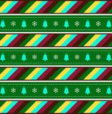 Cute festive background with christmas bells and snow flakes. Cute festive multicolor seamless striped background with christmas bells and snow flakes. Vector vector illustration